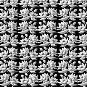 Celia Waterlilies Black and White Fabric