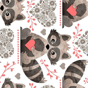 Raccoon's Valentine - Coral - Large Scale Client Requested ROTATED