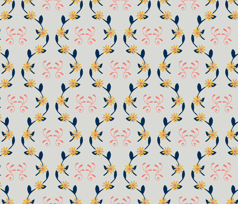 Dancing Vines - Grey fabric by merry_makewell_designs on Spoonflower - custom fabric