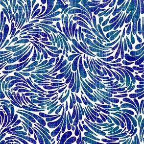 water splash in cobalt and teal on linen