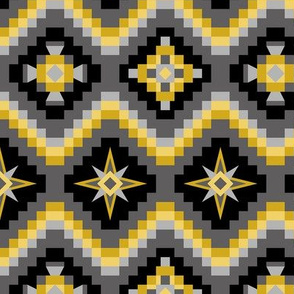 Aztec in black, grays and yellow