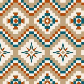 Aztec in burnt orange, teal and tan
