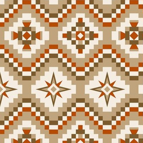 Aztec in brown, burnt orange, tan