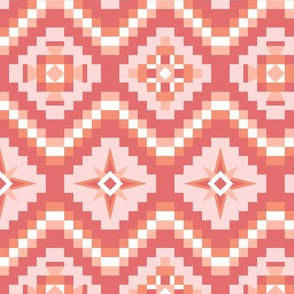 Aztec in coral peach pink
