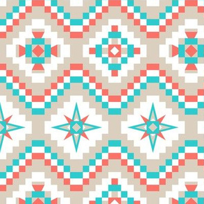 Aztec in coral turquoise and tan