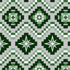 Aztec forest green and gray