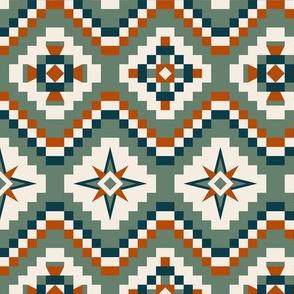 Aztec in olive, dark teal, burnt orange and cream