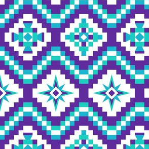 Aztec in purple, turquoise and mint on white