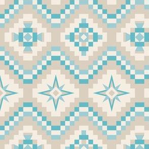 Aztec in turquoise, sand, cream