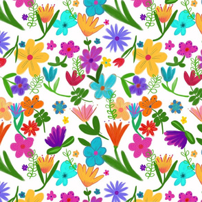 Bright Multicolor Mixed Florals