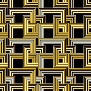 concentric squares black, mustard white