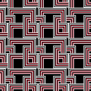 concentric squares black, red and white