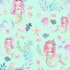 Mermaids and Starfish Watercolour Print