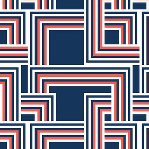 concentric squares navy, coral, white