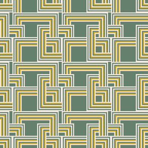 concentric squares olive, mustard and cream