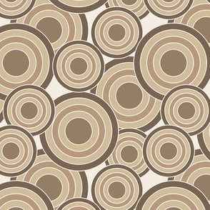 concentric circles brown and tans on cream