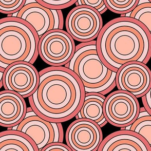 concentric circles coral peach pink on black