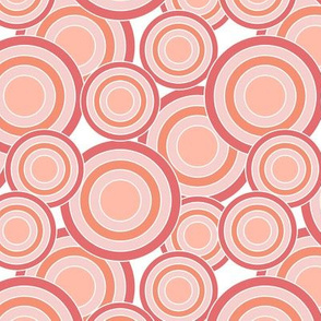 concentric circles coral peach pink on white