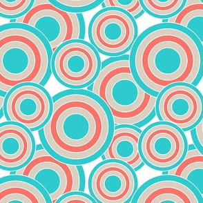 concentric circles coral turquoise tan