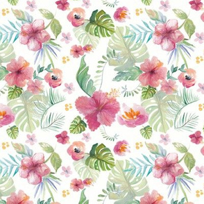 Watercolour Tropical Floral Fabric