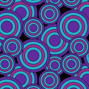concentric circles purple, magenta, blue on black