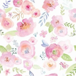 Pink Spring Watercolour Florals