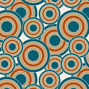 concentric circles teal, burnt orange, tan, cream