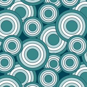 concentric circles teal and white