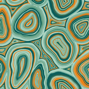Agate slices - green & orange