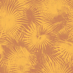 palm leaves in yellow and ochre on linen