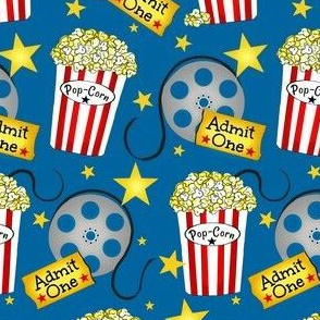 VIP Movie Night / Theater Pop-Corn on blue
