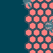 Bees banner coral and dark teal