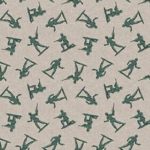 (small scale) army men - green plastic army men - toy - tan - LAD19BS