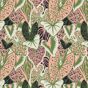 Tropical Foliage (medium) - Green/Pink