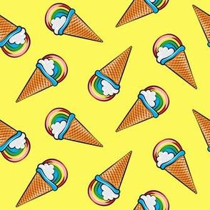 rainbow icecream cones on yellow  (toss) C19BS