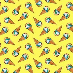 (small scale) rainbow icecream cones on yellow  (toss) C19BS