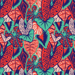 Tropical Foliage (medium) - Red/Blue