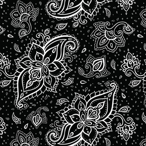 Paisley White Large Print on Black