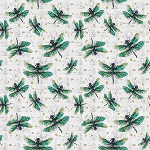 Green & White Dragonfly Dance Small  Print