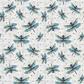 Blue & White Dragonfly Dance Small Print