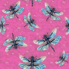 Deep Blush-Pink Dragonfly Dance Large Print