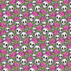 Skulls and Roses  Pink on Dark Grey Tiny Small