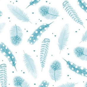 Blue pastel feathers