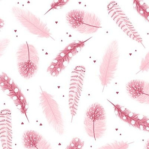 Pink pastel feathers