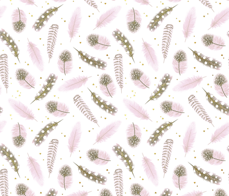 Pink and gold feathers fabric by innamoreva on Spoonflower - custom fabric