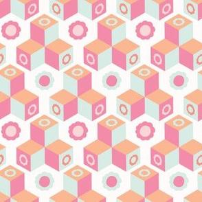 Retro floral geometric cube mosaic.