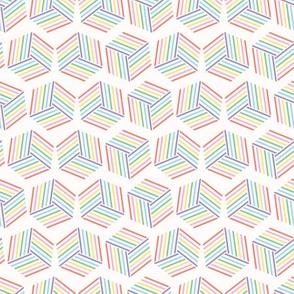 Graphic striped geometric cube