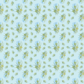Daffodil Spray on Light Blue