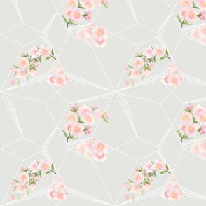 modern cherry blossoms - gray & white geo pattern