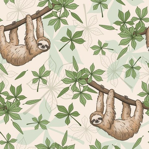 Sloths Hanging In The Forest - cream, large scale